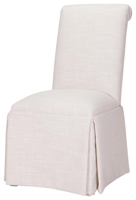 Sardis Skirted Parsons Chair, Cream.