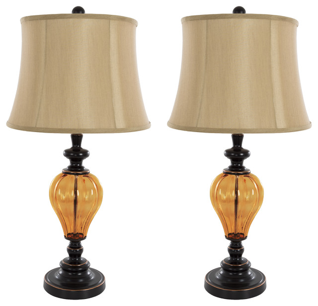 Table Lamps Set Of 2, Amber Glass, 2 Led Bulbs Included By Lavish Home.