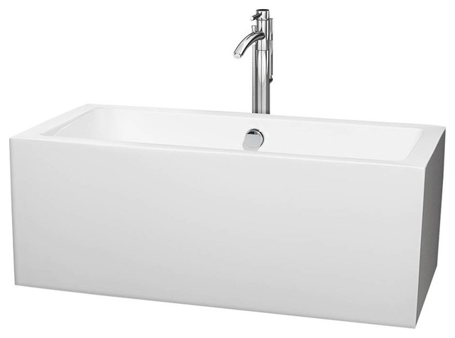 """Melody 60"""" White Soaking Bathtub With Floor Mounted Faucet, Chrome."""
