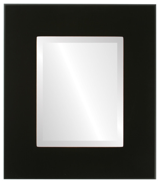 Boulevard Framed Rectangle Mirror In Rubbed Black, 31x43.