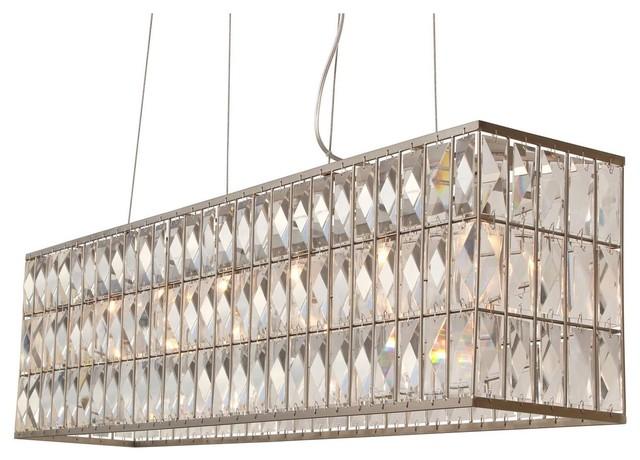 The Monroe Rectangular Clear Crystal Chandelier, Brushed Nickel