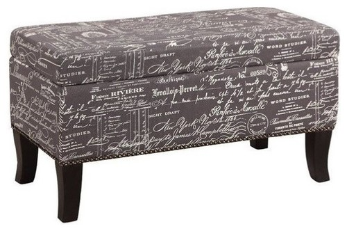 Pemberly Row Ottoman in Grey Linen with Script