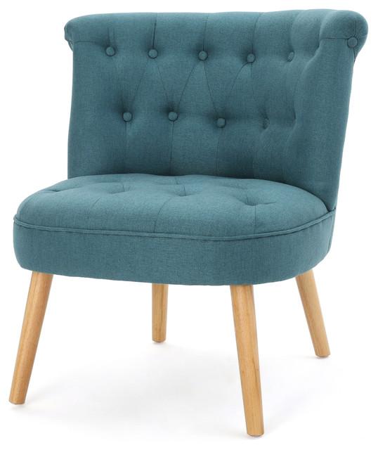 Donna Plush Modern Tufted Accent Chair, Dark Teal