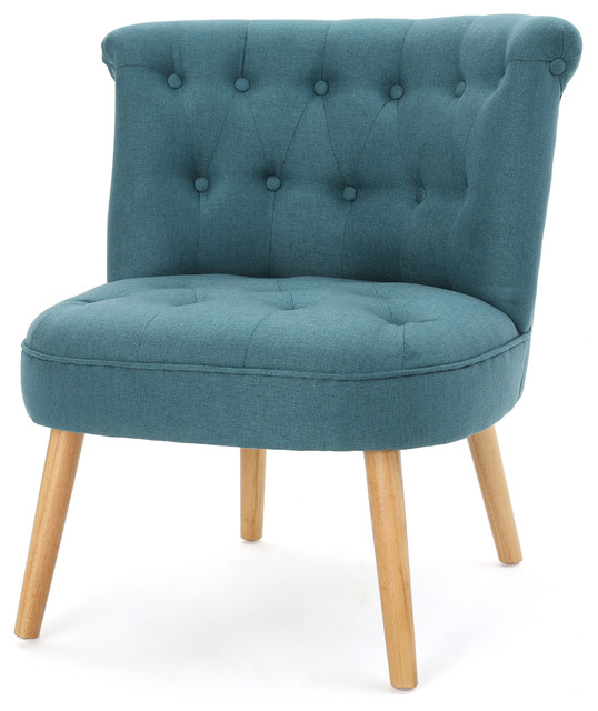 Captivating Donna Plush Modern Tufted Accent Chair, Dark Teal  Midcentury Armchairs And Accent