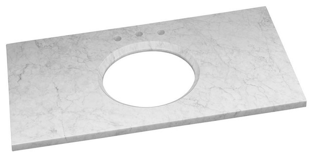 "Ronbow Marble Vanity Top With 8"" Widespread Faucet Hole, Carrara White, 43""x22""."