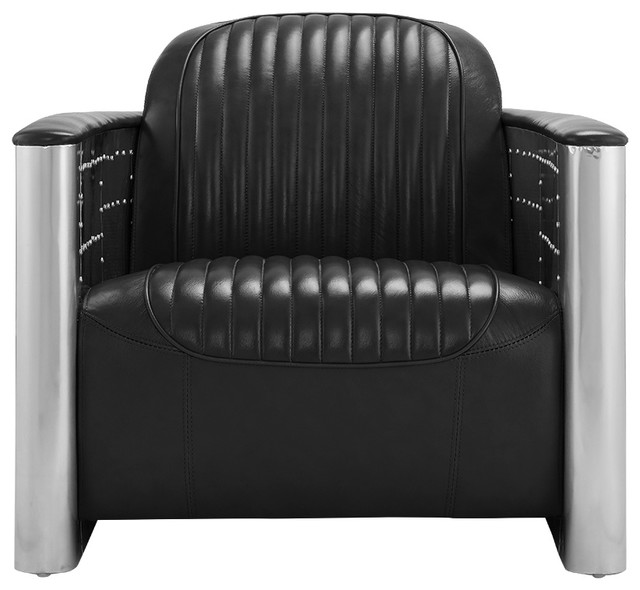 Industrial Leather And Metal Retro Accent Armchair, Black