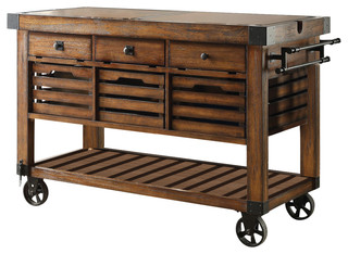 Acme Kaif Kitchen Cart, Distress Chestnut - Industrial - Kitchen ...