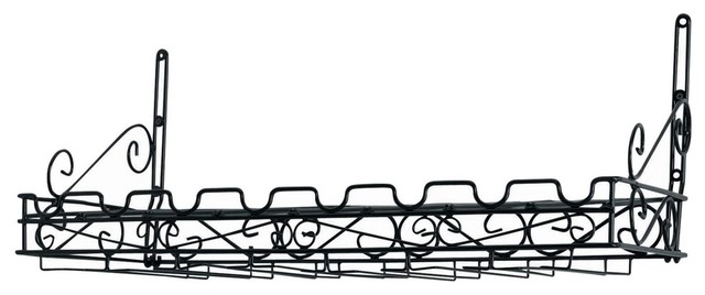 Wine And Glass Wall Rack, Metal, Black, 8 Bottle.