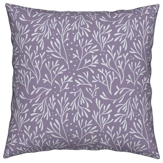 Lilac Lavender Mauve Leaves Plants Botanical Throw Pillow