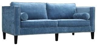 Cooper Velvet Sofa, Blue