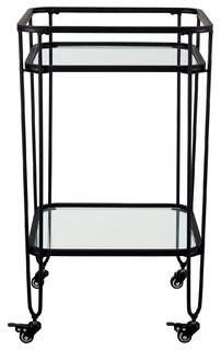 """Walker Edison Black 35"""" Metal And Glass Serving Cart, Af35Lohpbl"""