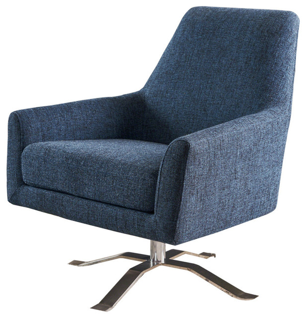 Outstanding Gdf Studio Alice Modern Fabric Swivel Club Chair Indigo Weave Theyellowbook Wood Chair Design Ideas Theyellowbookinfo