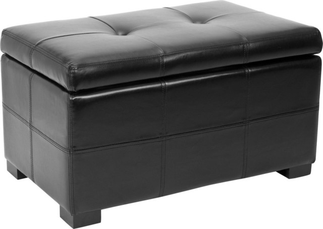 Maiden Sm Tufted Storage Bench, Black Contemporary Accent And Storage  Benches