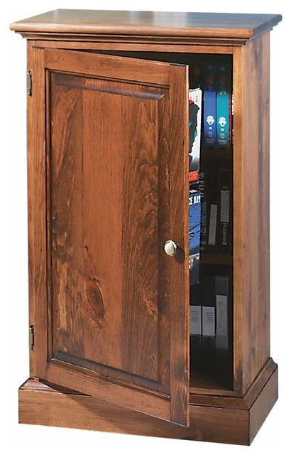 Traditional Video Storage Cabinet Unfinished Pine Wood