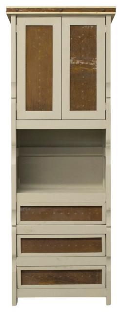 Samuel Linen Cabinet With Metal Panels, Gray, 30x20x72