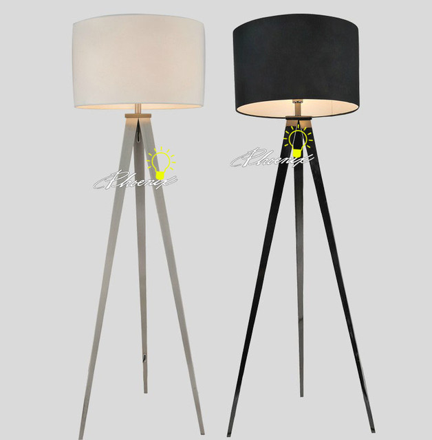 black and white tripod flax shape floor lamp