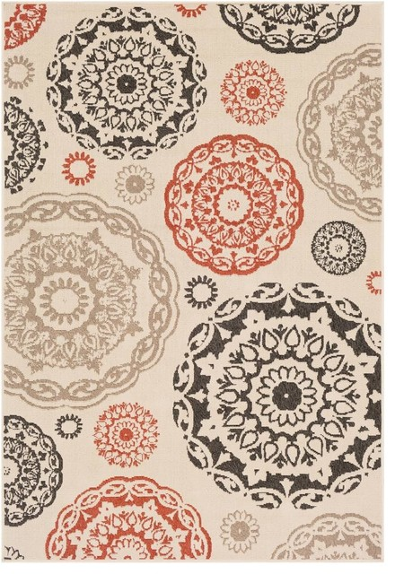 Alfresco Medallion Cream Black Area Rug Contemporary Outdoor