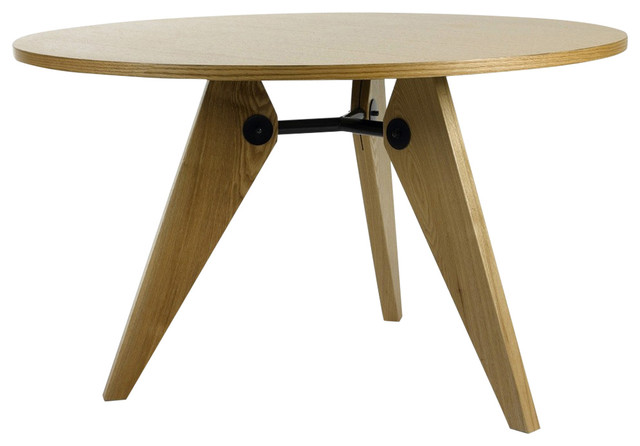 Devoted modern wood natural ash round dining table for Natural wood round table