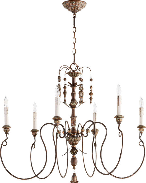 "Chandelier 6-Light With Vintage Copper Candelabra Base Bulbs 32"" 360W"