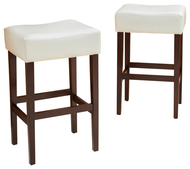 Duff Backless Leather Bar Stools Set Of 2 Traditional