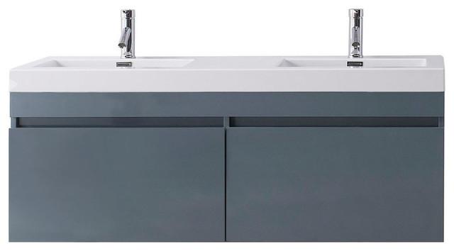 Virtu Zuri 55 Double Bathroom Vanity, Gray, Brushed Nickel Faucet.