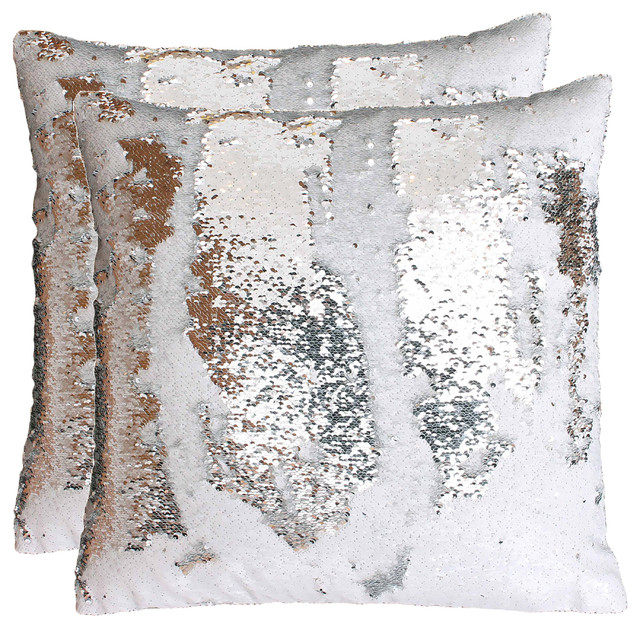 20x20 Melody Mermaid Shiny Metallic Faux Linen Pillow Set Of 2