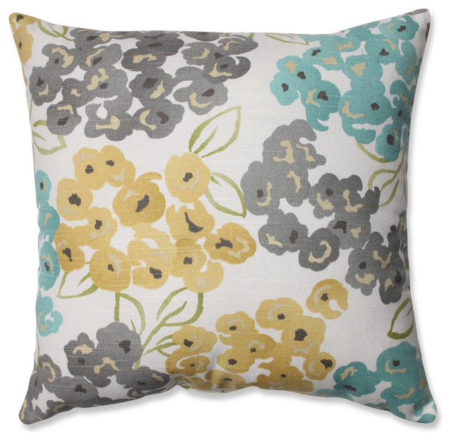 Floral Throw Pillow, Aqua, Gray And Yellow.