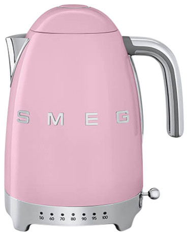 Smeg Variable Temperature Kettle, Pink, 3D Logo