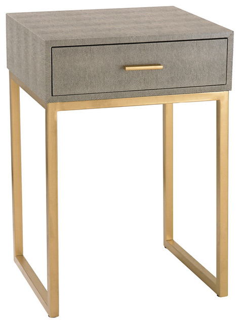 Sterling Faux Shagreen Side Table, Grey 180-010.