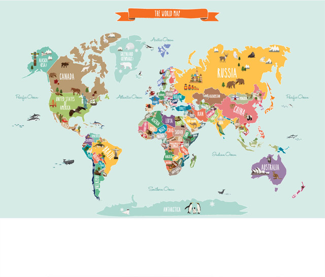 Countries Of The World Map Peel And Stick Poster Sticker - Map of countries of the world