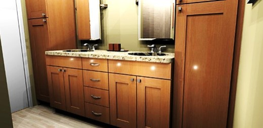 Mid-sized mountain style master porcelain floor bathroom photo in Other with an undermount sink, recessed-panel cabinets, medium tone wood cabinets, granite countertops and beige walls