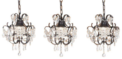 The gallery wrought iron and crystal chandelier pendant set of wrought iron and crystal chandelier pendant set of 3 traditional kitchen island aloadofball Images