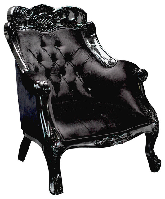 Velvet Baroque Accent Chair, Black