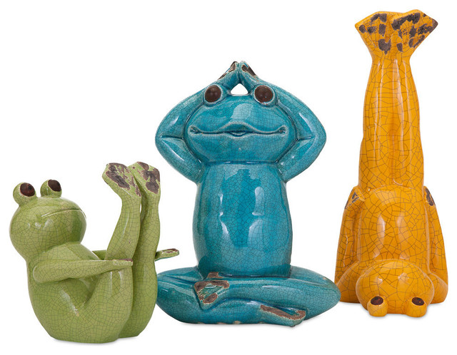 Yoga Frog Statuaries, 3 Piece Set Eclectic Garden Statues And