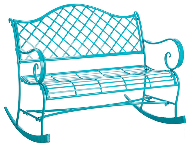 Fantastic Turquoise Indoor Outdoor Rocker Bench Powder Coated Metal Ocoug Best Dining Table And Chair Ideas Images Ocougorg