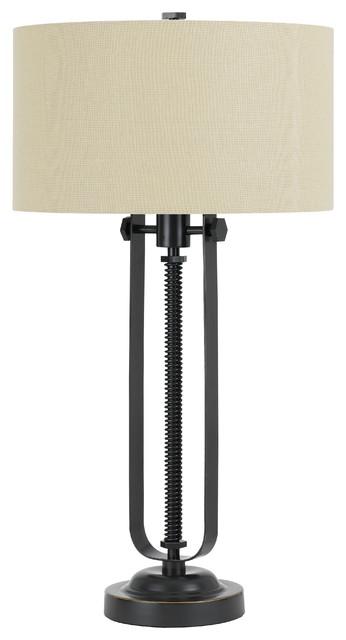 150w 3 Way Foggia Metal  Table Lamp With Hardback Burlap Shade.