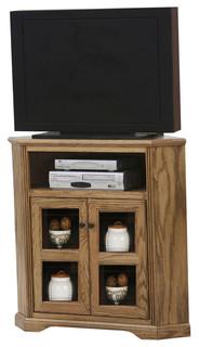 """Eagle Furniture Oak Ridge, Tall 41"""" Wide Corner TV Console, Dark Oak"""