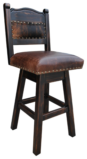 Hacienda Swivel Bar Stool, Cowhide, Counter Height