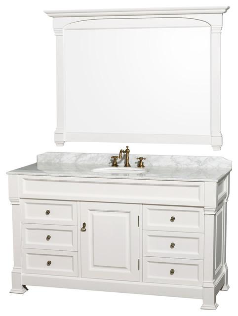 "Andover 60"" Vanity Undermount Round Sink 56"" Mirror White White Carrera Marble."