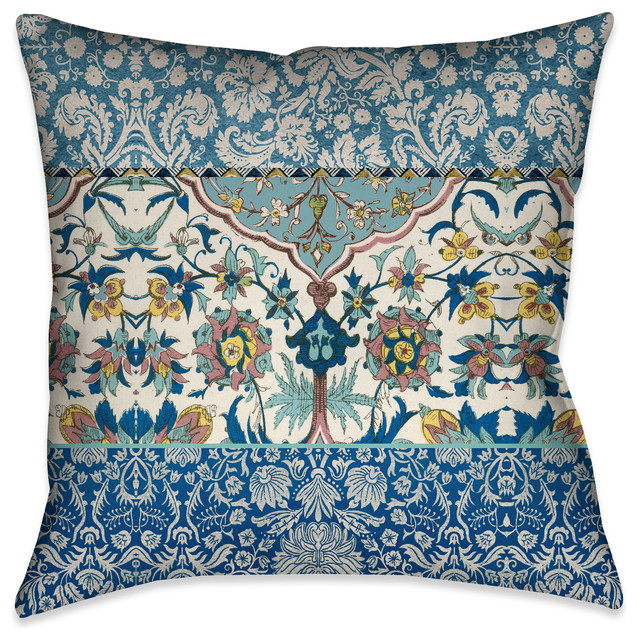 "Laural Home Royal Blue Bohemian Tapestry Outdoor Decorative Pillow, 20""x20"""