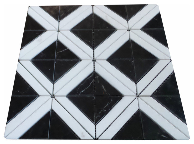 Triangle With Strip Marble Mosaic Tile Black And Carrara White 11 Sheets