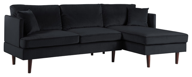 Modern Brush Microfiber Sectional Sofa With Extra Wide Chaise Black