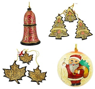 Kashmir Designs Holiday Christmas Ornaments, Hand Painted Ball, Bell, Tree and Maple Set ...