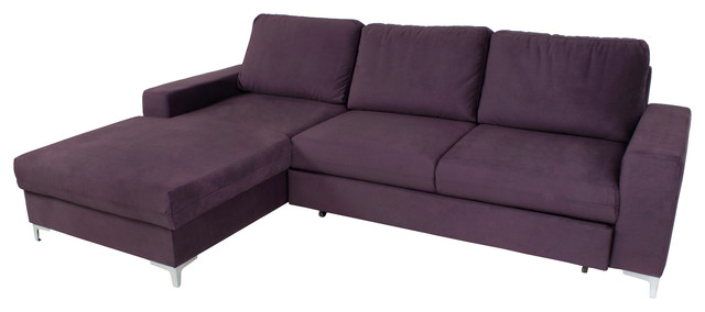 Lens Corner Sectional Sofa-Bed, Purple, Left Corner