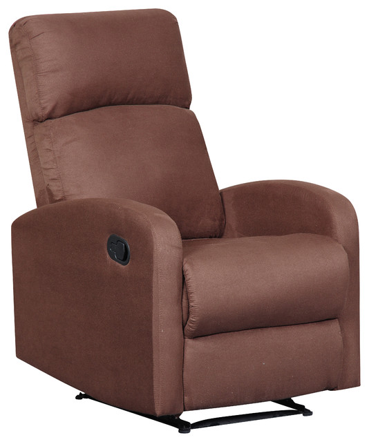 Modern Home Slim Design Microfiber Brown Recliner, Brown ...