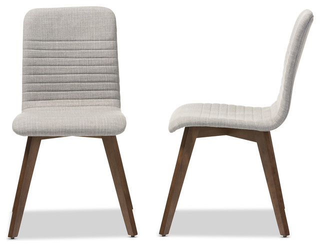 Upholstered Walnut Wood Dining Chairs, Set of 2, Light Gray midcentury- dining-