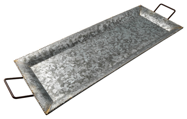 Small Galvanized Iron Serving Tray With Metal Handles