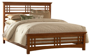 spanish mission hardwood bed frame full craftsman panel beds by fashion bed group. Black Bedroom Furniture Sets. Home Design Ideas