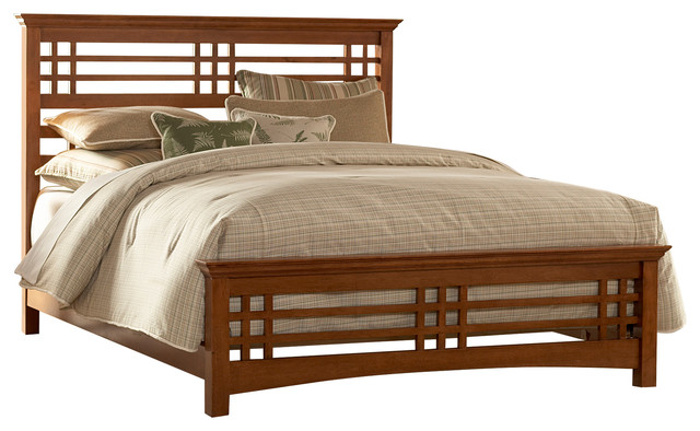 Avery MissionStyle Bed With Wood Frame Oak Craftsman Panel