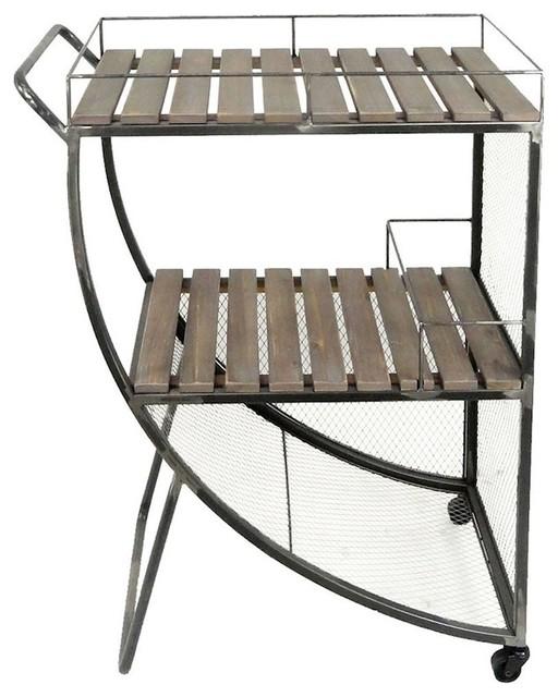 Sagebrook Home Metal Mesh and Wood Slat Tea Cart, Brown, 12258D by Sagebrook Home